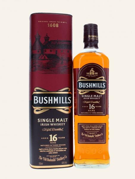 Bushmills 16 Jahre - Flasche und GP Front