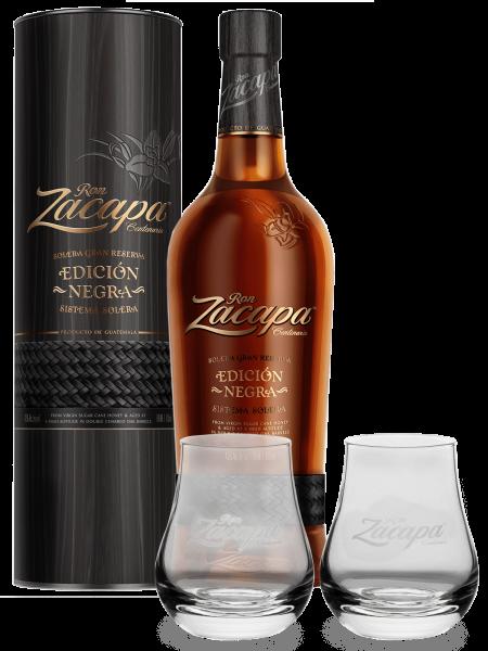 Edicion Negra Rum + 2 Gläser